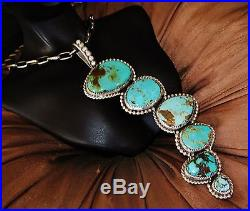 NAVAJO LONG TURQUOISE PENDANT, 71gr CHAVEZ HAND MADE Sterling Silver NECKLACE