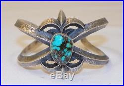 Navajo Madekevin Yazziesterling Silvergenuine Turquoisesand Cast Bracelet