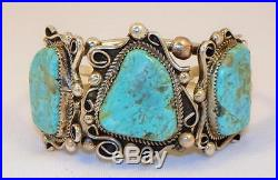Navajo Madekristina Nezsterling Silvergenuine Turquoise3 Stone Bracelet