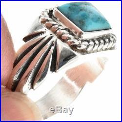NAVAJO MADE Natural Arizona Kingman Turquoise Silver Men's Ring Sizes 9 to 13