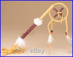 NAVAJO Native American Made DeerSkin 14 CEREMONIAL TALKING Stick Medicine Wheel