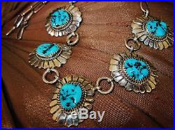 NAVAJO TURQUOISE NECKLACE HAND MADE CHAIN, 38gr MARCELLA JAMES Sterling Silver