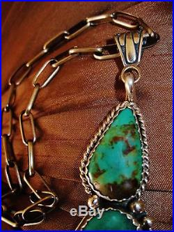 NAVAJO TURQUOISE PENDANT HAND MADE CHAIN NECKLACE, 67gr CHAVEZ Sterling Silver
