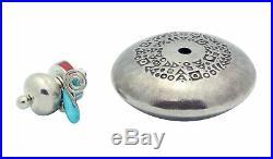 Natasha Peshlakai, Silver Pot, Coral, Turquoise, Lid, Silver, Navajo Made, 1.5