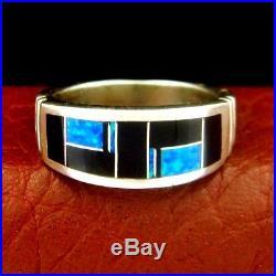 Native America Made Sterling Silver Opal & Onyx Mens Ring Size 11.5 - R10H u