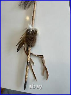 Native American Arrow, Hand Made, Leather Wrapped With Fur And Feathers