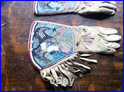 Native American Beaded Gauntlet Gloves 1800's Smoked Ceremonial Indian Made