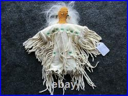 Native American Beaded Leather Doll, Authentic Indian Hand Made Doll Sd-03690