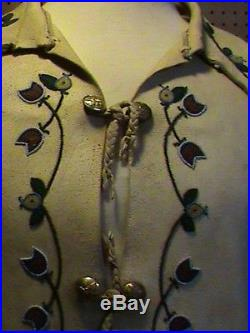 Native American Beaded Moose Hide Shirt Beaded Frontier Hand Made 1880's