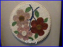 Native American Beaded Rosette Shadow Box Cree Made 1920 Rare Powwow Regalia