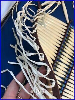 Native American Breastplate Buffalo Bone Brain Tan Buckskin Native Made