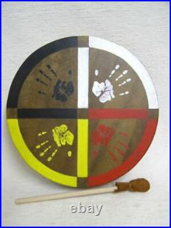 Native American Cherokee Made Painted Buffalo Drum with Medicine Wheel