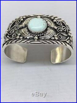 Native American Hand Made Sterling Silver Cuff Bracelet With Dry Creek Turquoise