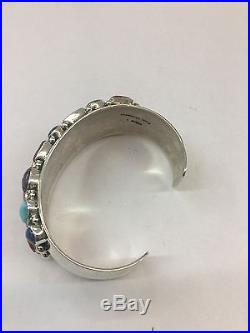Native American Hand Made Sterling Silver Navajo Multi Color Stones Bracelet