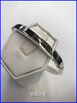 Native American Hand Made Sterling Silver Navajo Onyx & opal Inlay Cuff Bracelet