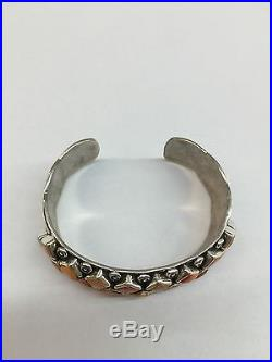 Native American Hand Made Sterling Silver Navajo Spiny Oyster Cuff Bracelet
