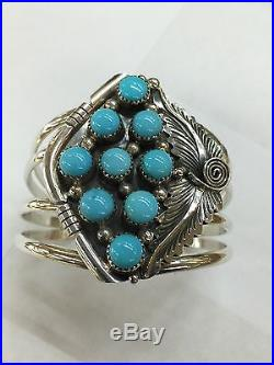 Native American Hand Made Sterling Silver Navajo Turquoise Cuff Bracelet Amazing
