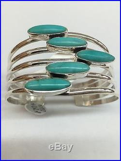 Native American Hand Made Sterling Silver Navajo With Turquoise Cuff Bracelet