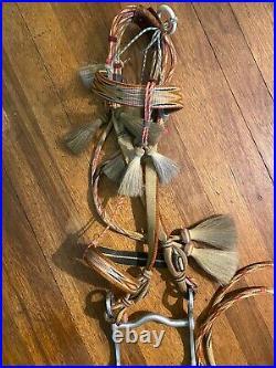 Native American Handmade, Hand Dyed Deer Lodge Prison made Horse Hair Bridle