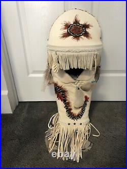 Native American Indian Full Size Leather Hand Made Papoose approx 32 long