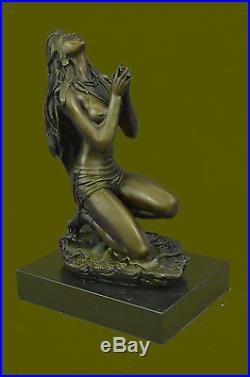 Native American Indian Girl Bronze Sculpture Hand Made Hot Cast Classic Figurine