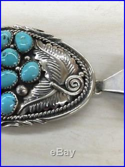 Native American Indian Hand Made Sterling Silver Navajo Turquoise Pendant WOW