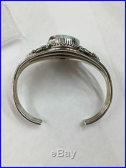 Native American Indian Hand Made Sterling Silver With Dry Creek Turquoise Cuff