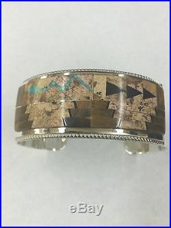 Native American Indian Hand Made Sterling Silver Zuni Tiger Eye Cuff Bracelete