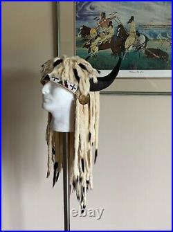 Native American Indian Made Ermine fur Headdress Buffalo Split Horn War Bonnet