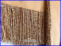 Native American Indian Made Heavy Soft Buckskin fringe war shirt extra Large