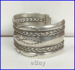 Native American Indian Silver Twisted Wire Navajo Bracelet Well Made 1 1/8 Wide