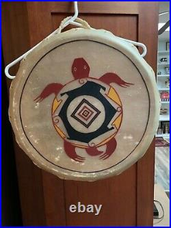 Native American Indian Taos Drum Rawhide Turtle Painting 16 Hand Made