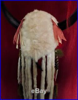 Native American Indian artist made Ermine Headdress War Bonnet antique style