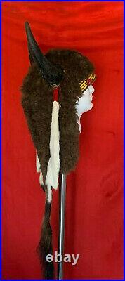 Native American Indian made 1930's Antique Buffalo Headdress War bonnet
