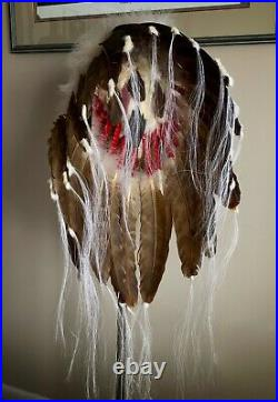 Native American Indian made Feather and Ermine Headdress Warbonnet
