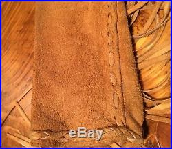 Native American Made Buckskin Fringe Mens M Shirt Jacket Western Mountain Man