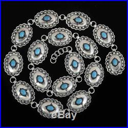 Native American Made Genuine Turquoise and Silver Link Concho Belt