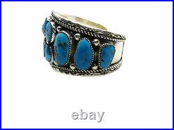 Native American Made Huge Statement Sterling Silver Turquoise Nugget Bracelet