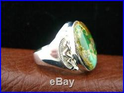 Native American Made Men's Green Turquoise Ring Mr5n
