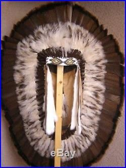 Native American Made NAVAJO Half Trailer War Bonnet Brown Feather Headdress 48