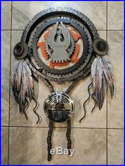 Native American Made Steampunk Dream Catcher Motorbike Parts, Gears & Chain