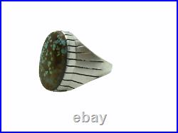 Native American Made Sterling Silver #8 Turquoise Ray Jack Ring Size 13