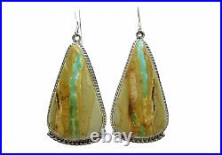 Native American Made Sterling Silver Boulder Ribbon Turquoise Earrings