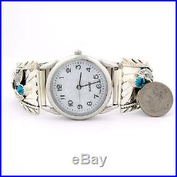 Native American Made Sterling Silver Eagle With Turquoise Mrens Watch - W30 T
