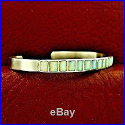 Native American Made Sterling Silver Light Green Opal Bracelet - B34 B x