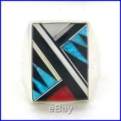 Native American Made Sterling Silver Men's Multi Stone Ring Size 11 - R26 M