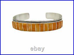 Native American Made Sterling Silver Orange Spiny Oyster Inlay Bracelet