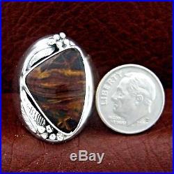 Native American Made Sterling Silver Pietersite Men's Ring Size 11 - R40 E