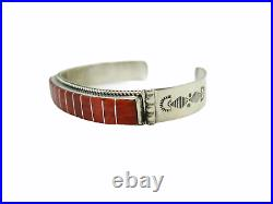 Native American Made Sterling Silver Red Spiny Oyster Inlay Bracelet