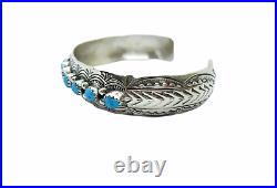 Native American Made Sterling Silver Turquoise Bracelet by Grace Silver